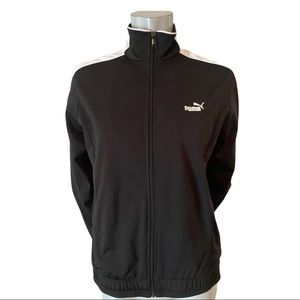 Puma Black and White Fitted Athletic Jacket Size L
